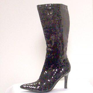 Black Sequin Knee Boots
