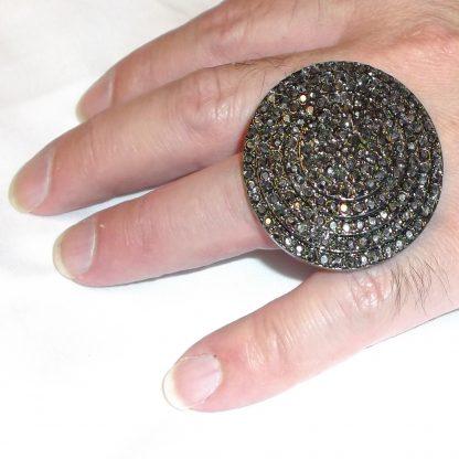 Dark Rhinestone Circle Ring