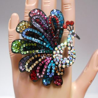 Full colour rhinestone peacock